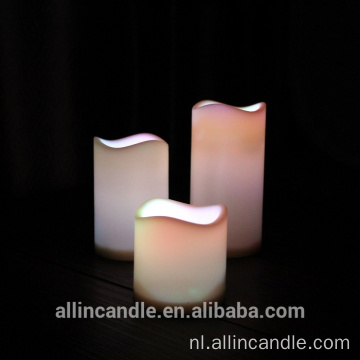 Yellow Light Vlamloze Real Wax LED Pillar Candle